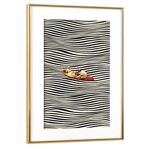 artboxONE Poster mit Rahmen Gold 60x40 cm Illusionary Boat Ride von Taudalpoi - gerahmtes Poster