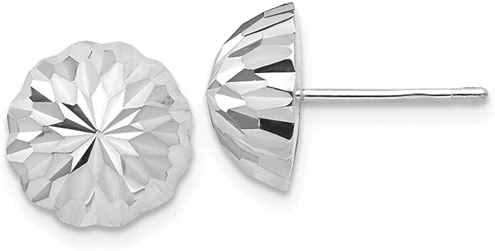14k White Gold Half Ball Post Stud Earrings Button Fine Jewelry For Women Gifts For Her