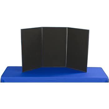 3-Panel Tabletop Display Board, 54 x 30 - Black and Gray Hook & Loop-Receptive Fabric, for Exhibitions and Trade Shows