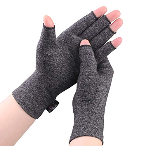 2 Pairs Compression Arthritis Gloves for Women and Men-Arthritis Pain Relief Rheumatoid Osteoarthritis and Carpal Tunnel,Fingerless Gloves for Computer Typing and Everyday Support (Gray, Medium)