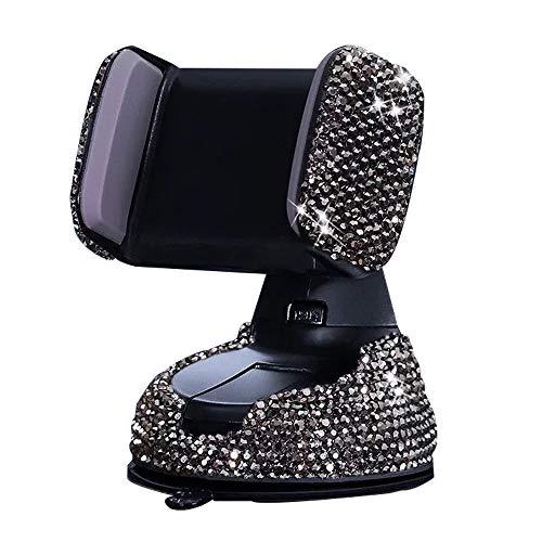 KABIOU Soporte universal para teléfono de coche con diamante de cristal para teléfono móvil, soporte de coche, soporte para teléfono móvil, soporte para GPS, regalo, color gris