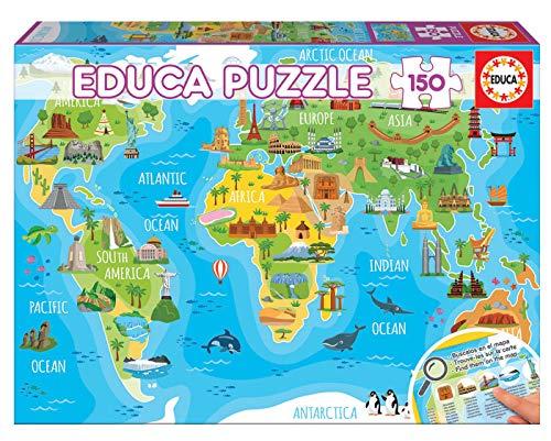 Educa- Mapamundi Monumentos Puzzle Infantil de 150 Piezas, a
