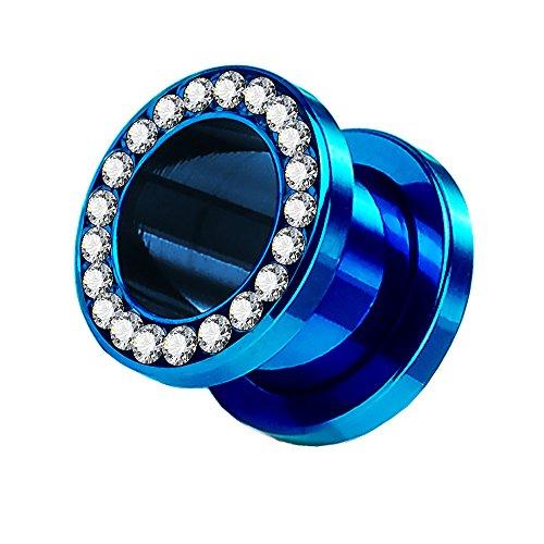 Piercingfaktor Flesh Tunnel Schraub Plug Ohr Piercing Edelstahl Titan mit Schraubverschluss Zirkonia Kristallen Steinen 6 mm Blau