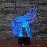 Solo 1 pieza Animal Elephant 7 cambio de color 3d Luz de noche Mesa LED Lámpara para niños Regalo Accesorios de iluminación 3d