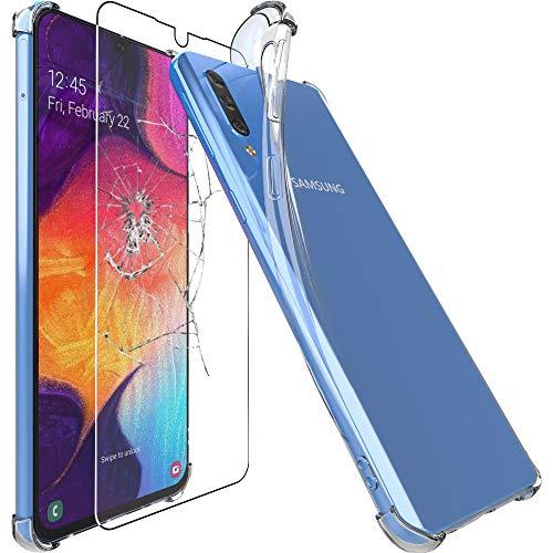 ebestStar - kompatibel mit Samsung Galaxy A50 Hülle SM-A505F Silikongel Handyhülle, Klar Schutzhülle verstärkten Rändern & Ecken, Transparent + Panzerglas Schutzfolie [A50: 158.5x74.7x7.7mm, 6.4'']