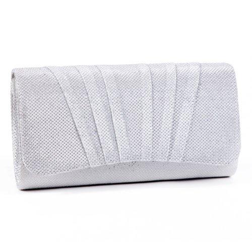 Damara Shimmert Mitte Falten Damen Clutch Handtasche,Weiß
