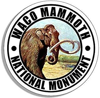 MAGNET 4x4 inch Round WACO Mammoth National Monument Sticker (Travel rv Texas tx) Magnetic vinyl bumper sticker sticks to any metal fridge, car, signs