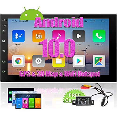 Double Din Android 10.0 Car Stereo GPS Navigation 2 Din Car Radio Capacitive Touch Screen in Dash Bluetooth Video Player Autoradio with WiFi USB Mirrorlink 1080P + Rearview Camera