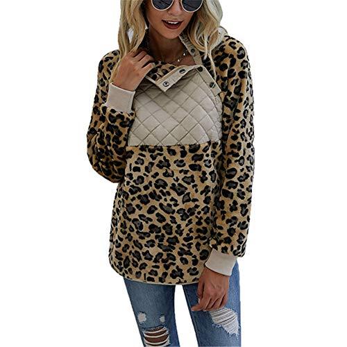 ZFQQ Herbst und Winter Damenmode Plüschpullover mit Leopardenmuster