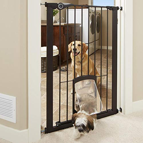 North States MyPet 38' wide 42' tall Extra Tall Petgate Passage: Extra tall secure gate with lockable pet door. Pressure Mount. Fits 29.8'-38' wide (42' tall, Matte Bronze)