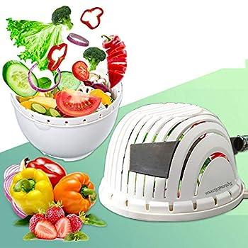 Salad Cutter Bowl Upgraded Easy Speed Salad Maker,Fast Fruit Vegetable Salad Chopper Bowl ,Gift Cut Vegetable Hand Guard And Stainless Steel Straws,Fresh Salad Slicer