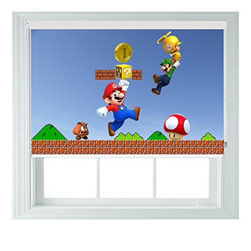 super mario brothers blinds AOA Various Gaming Styles and Sizes Black Out Roller Blinds for Bedrooms Bathrooms Kitchens and Caravans (61 x80cm, Mario)