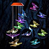 Wind Chime,solar lights chimes,butterfly wind chimes led\/solar hummingbird wind chime Outdoor decor,yard decorations solar light mobile,memorial wind chimes,(gifts for mom,birthday gifts for mom