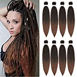 Pre-stretched Braiding Hair Extension Ombre Professional Crochet Braiding Hair 20 Inch 8 Packs Hot Water Setting Perm Yaki Synthetic Hair for Twist Braids Hair Extensions