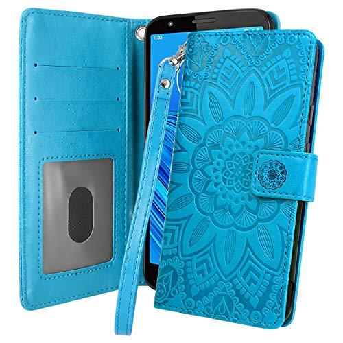 Moto E6 Case, Harryshell Kickstand Flip PU Leather Protective Wallet Case Cover with Card Slots Wrist Strap for Motorola Moto E6 (Blue)