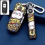 ontto Autoschlüssel Hülle kompatibel mit Mazda 2 3 5 6 CX-3 CX-5 CX-7 CX-9 RX-8 MX-5 Miata Fernbedienung Cover Leder Schlüsselhülle Schlüsselanhänger Schlüssel Schutz Etui 2 Tasten-Glückliche Katze A