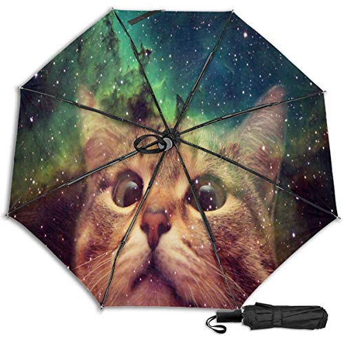 Gato con gafas Galaxy Catfashion Manual Vinilo Paraguas triple Protector solar Protección UV Paraguas a prueba de viento Paraguas de viaje