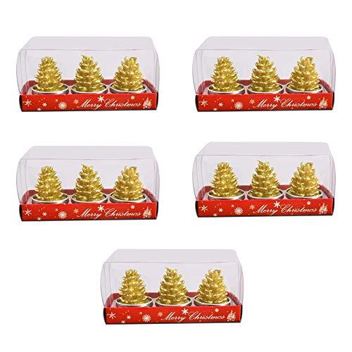 1/5/7 cajas de vela de Navidad, bonito árbol de Navidad, casa de Papá Noel, juego de 3 velas decorativas para fiestas de vacaciones, regalos pintados (5 cajas, conos de pino)