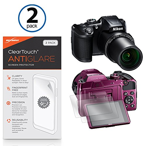 Nikon Coolpix B500 Screen Protector, BoxWave [ClearTouch Anti-Glare (2-Pack)] Anti-Fingerprint Matte Film Skin for Nikon Coolpix B500