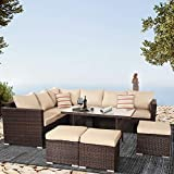 Outime Outdoor Sectional Sofa Patio Couch Spring Party Sofas PE Brown Rattan Wicker Conversation Set with Khaki Cushion Dining Table Sets 9 Seats