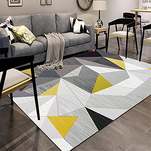 alfombras para terrazas Alfombra de la sala de estar gris desordenado patrón geométrico alfombra duradera es fácil de limpiar Gris alfombra protectora de suelo 200x280cm alfombra juvenil habitacion 6f