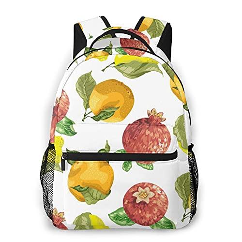 GKGYGZL Mochila para computadora portátil de viaje,Vitamina C Naranja Estacional Granada Limón,mochila antirrobo resistente al agua para negocios