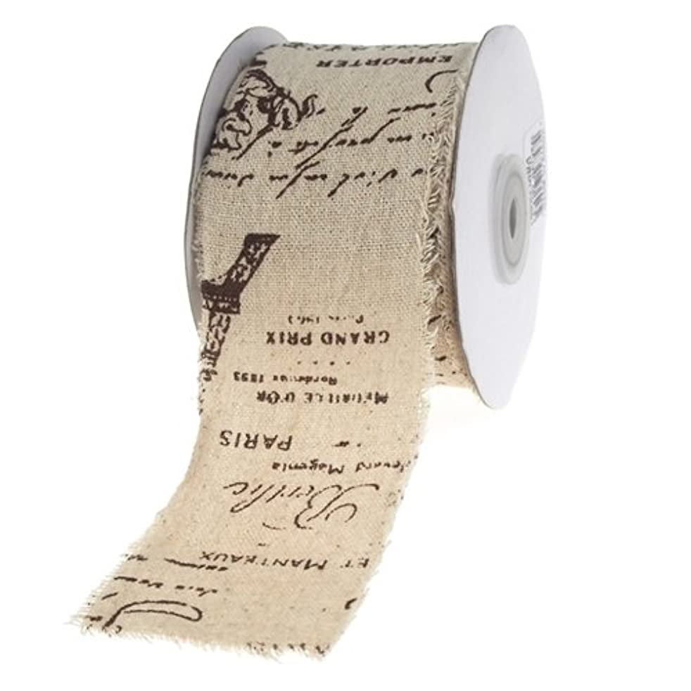 Homeford Firefly Imports Paris Eiffel Tower Brown Script Linen Ribbon, 2-1/2-Inch, 10 Yards, Natural, 2-1/2