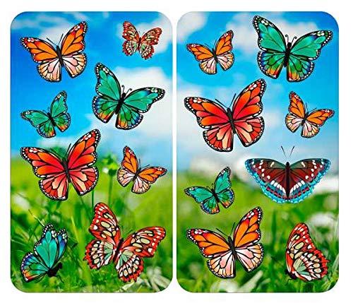 WENKO Protège-plaques de cuisson Universal Papillons colorés, set de 2, recouvrement de plaque pour tous les types de cuisinières, verre trempé, 30 x 52 cm, multicolore