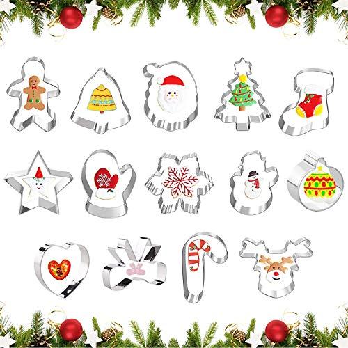 14 Stücke Weihnachten Edelstahl,Ausstecher Set für Keks,Ausstechformen Backen Fondant,Weihnachtsausstecher Backzubehör,Ausstecher Set ,keksausstecher ,Plätzchen Ausstecher,Plätzchenformen(F)