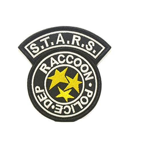 Cobra Tactical Solutions Resident Evil S.T.A.R.S Racoon Police DEP Parche Bordado Táctico Moral Militar con Cinta adherente de Airsoft Paintball para Ropa de Mochila Táctica (Negro)