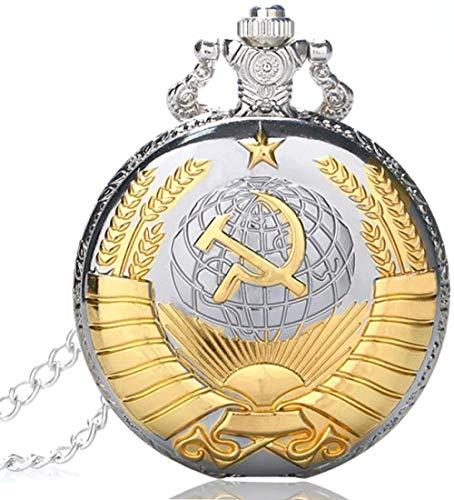 YZXYZH Collar Retro URSS Insignia Soviética Martillo De Hoz Estilo Reloj De Bolsillo De Cuarzo CCCP Rusia Emblema Comunismo Collar Unisex Cadena Horas Reloj Collar