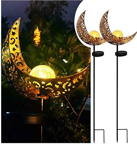 Solarlampe für Außen, 2Pack LED Metall Mond-Form Stake Dekorative Gartenfahlständer Solarleuchte im Freien Gartendeko wasserdichte LED-Pfahlpfad-Deko-Leuchten für Terrasse, Weg, Hof, Rasen