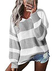 - Yoins women color block jumper loose v neck striped sweaters will make you more sexy,fashion and elegant. Feature: Ladies colorblock v neck jumper, womens long sleeve loose casual baggy sweaters, young girl striped knitted pullover tunic top. overs...