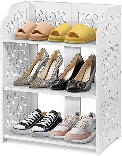ZCYY Zapatero, Estante Multifuncional para Almacenamiento de Zapatos para el hogar, 3 Capas, Simple, Blanco, Hueco, Zapatero, Tallado, Porche, Muebles, Entrada, Sala de Estar, 40 x 23 x