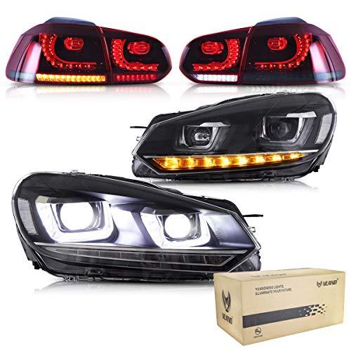 VLAND Scheinwerfer und Rückleuchten für Golf 6 MK6 VI GTD TSI TDI 2008 2009 2010 2011 2012 2013 Frontleuchte Rücklichter, mit sequentieller Anzeige, DRL Tech,RHD oder LHD