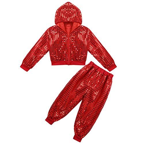 Agoky Kinder Sportanzug Glänzend Trainingsanzug für Jungen Mädchen Tanz Sport Bekleidung Fasching Karneval Kostüm Party Outfits Rot 134-140