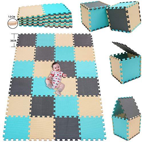 MSHEN 24 Stück Puzzlematte | Kälteschutz,abwaschbar Kinderspielteppich Matte | puzzlematte Baby Trainingsmatte.Größe 1,93 Quadrat.Türkis-Beige-Grau-HJLg24