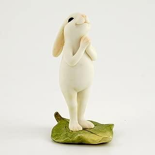 Top Collection Miniature Fairy Garden & Terrarium Yoga Bunny in Standing Namaste Pose Statue, Small