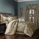 Five Queens Court Vivianna Luxury 4 Piece Comforter Set, Turquoise, King 110X96