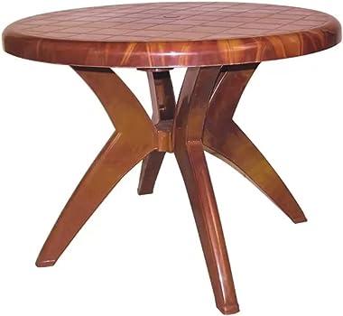 National Plastic Century Round Shape Dining Table Four Seater Set of (1) Teakwood/Multicolor