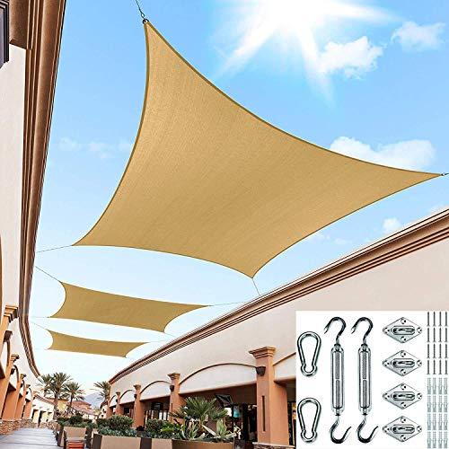 Parasol de tela rectangular con toldo 95% de bloqueo UV permeable al agua y al aire para pérgola de patio (disponible para tamaños personalizados) arena 4 * 5 m