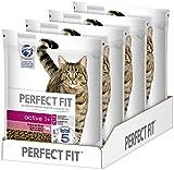 Perfect Fit Active 1+ – Trockenfutter für erwachsene, aktive Katzen ab 1 Jahr – Reich an Rind – Unterstützt die Vitalität – 4 x 1,4 kg