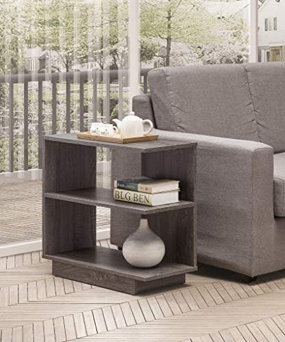 Weathered Grey 3-Tier Corner Side End Table with Open Storage Shelves