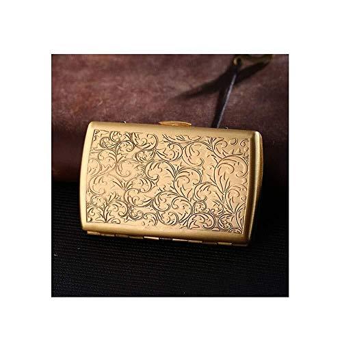 Lkk-kk Ultra-delgado portátil de la caja de latón de cigarrillos, 12 barras, creativa personalizada Hombre de cigarrillos titular caso de cigarrillos, cálido y rollizo (Color: Oro, Tamaño: 8.5 * 5.5 *