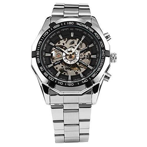 WINNER Reloj mecánico de hombre con esfera de esqueleto y correa de acero para hombre...