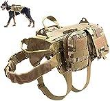 DHGTEP Arnés Militar Táctico para Perros K9, Chaleco de Servicio para Perros Militares, con Juego de Bolsas y Bolsillos para Cosas Pequeñas para Viajeros (Color : CP, Size : L)