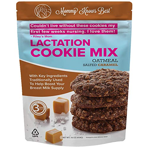 Lactation Cookies Mix - Oatmeal Chocolate Salted Caramel Breastfeeding Cookie Supplement Support for Breast Milk Supply Increase - 16 ounces