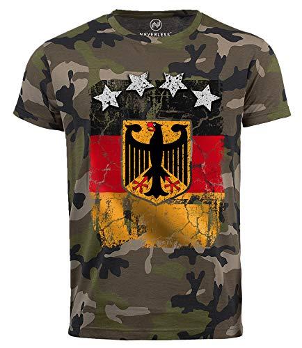 Neverless Cooles Herren Camo-Shirt WM Deutschland Fußball Design Sterne T-Shirt camo L