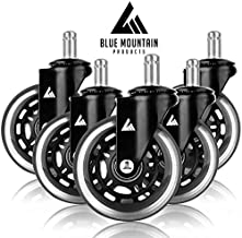 Office Chair Replacement Wheels- Smooth Rolling Heavy Duty Rollerblade Wheels fit Gaming and Computer Chairs- Soft Wheels Protect Hardwood Tile and Rug Floors No More Floor Mat Set of 5