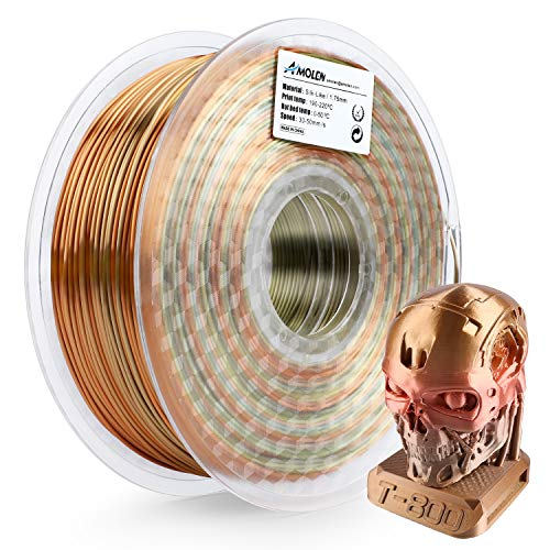 AMOLEN 3D Printer Filament, Silk Metal Rainbow Multicolor 1.75mm PLA Filament +/- 0.03 mm, 1KG,3D Printing Materials for 3D Printer and 3D Pen